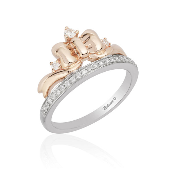 Enchanted Disney Fine Jewelry Womens 1/5 CT. T.W. Genuine Round Diamond 10K Rose Gold & Sterling Silver Promise Ring