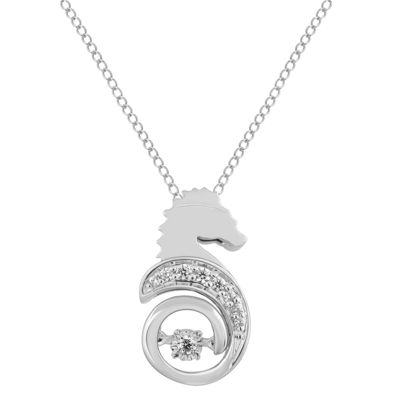 Enchanted Disney Fine Jewelry Womens Diamond Accent Genuine White Diamond Sterling Silver The Little Mermaid Pendant Necklace