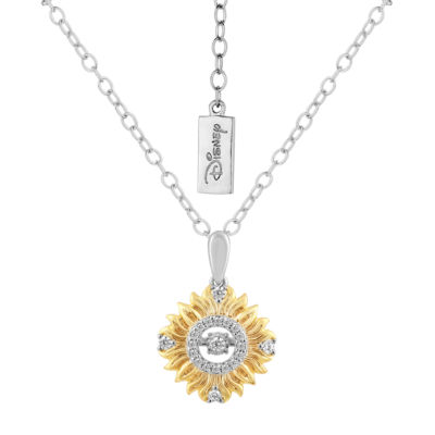 Enchanted Disney Fine Jewelry Womens 1/10 CT. T.W. White Diamond 10k Yellow Gold & Sterling Silver Pendant Necklace