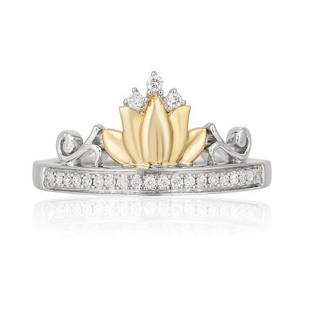 Enchanted Disney Fine Jewelry Womens 1/10 CT. T.W. Genuine Diamond 10K Yellow Gold & Sterling Silver Promise Ring, 8