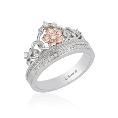 Enchanted Disney Fine Jewelry Womens 1/10 CT. T.W. Genuine Diamond 10K Rose Gold & Sterling Silver Promise Ring