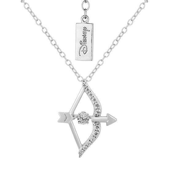 Enchanted Disney Fine Jewelry Womens 1/10 CT. T.W. Genuine White Diamond Sterling Silver Brave Pendant Necklace