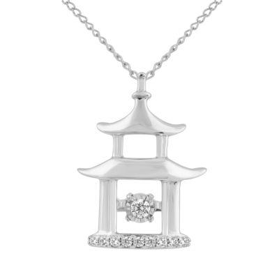 Enchanted Disney Fine Jewelry Womens Diamond Accent Genuine White Diamond Sterling Silver Mulan Pendant Necklace