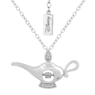 Enchanted Disney Fine Jewelry Womens Diamond Accent Genuine White Diamond Sterling Silver Aladdin Pendant Necklace