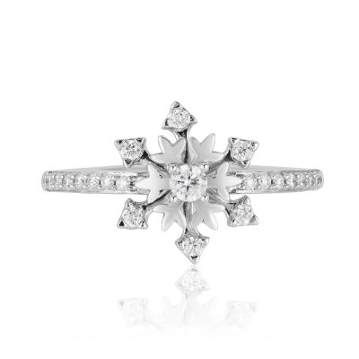 Enchanted Disney Fine Jewelry Womens 1/4 CT. T.W. Genuine White Diamond Sterling Silver Star Frozen Promise Ring