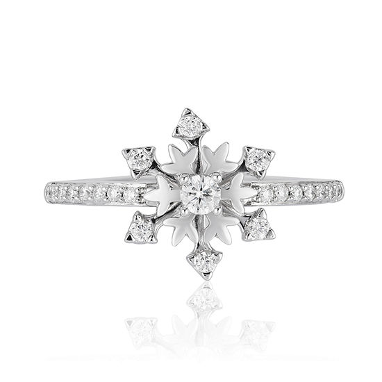 Enchanted Disney Fine Jewelry Womens 1/4 CT. T.W. Genuine White Diamond Sterling Silver Star Disney Princess Cocktail Ring