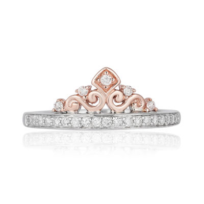 Enchanted Disney Fine Jewelry Womens 1/5 CT. T.W. Genuine Diamond 10K Rose Gold & Sterling Silver Promise Ring