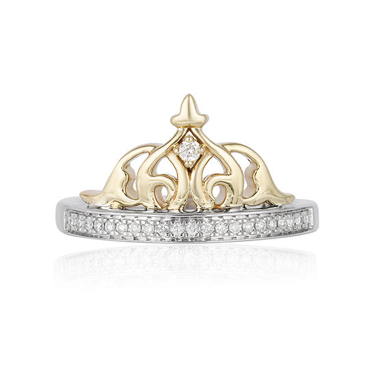Enchanted Disney Fine Jewelry Womens 1/10 CT. T.W. Genuine Round Diamond 10K Yellow Gold & Sterling Silver Promise Ring