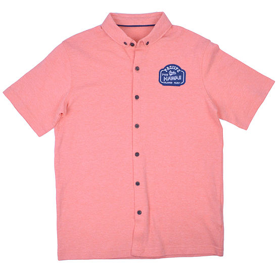 Ps Aeropostale Boys Short Sleeve Button-Front Shirt Big Kid