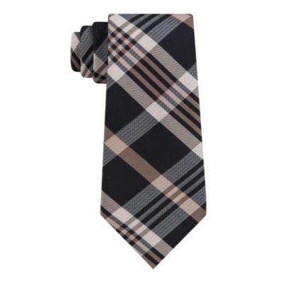 Van Heusen Made to Match Black Ground Plaid Tie