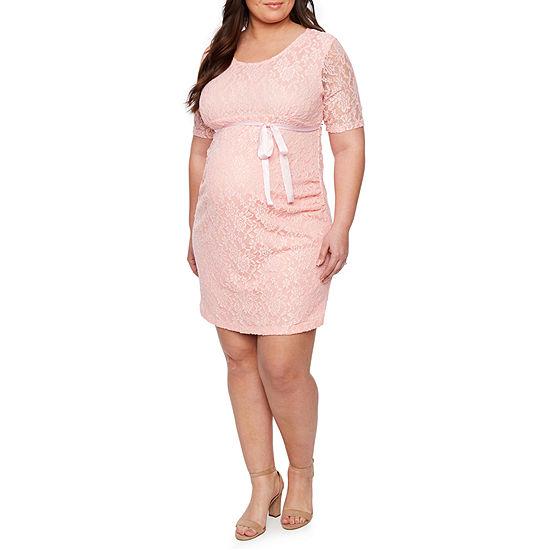 Planet Motherhood Elbow Sleeve Scoop Neck Lace Dress - Plus Maternity
