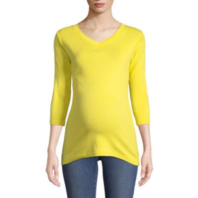 Planet Motherhood 3/4 Sleeve V Neck T-Shirt - Maternity