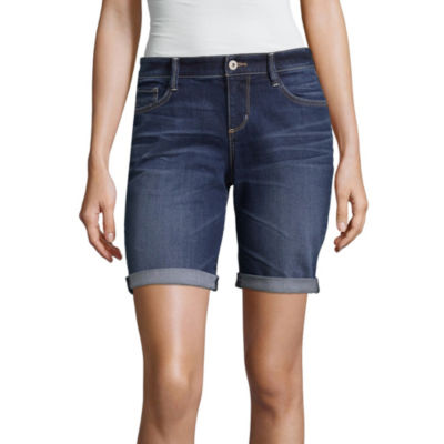 "Arizona 9"" Classic Fit Denim Bermuda Shorts-Juniors"