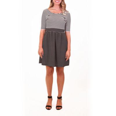 Nina Leonard Short Sleeve Contrast Stripe Dress