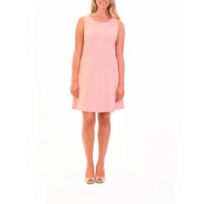 Nina Leonard Sleeveless A-Line Dress With Gold Studs