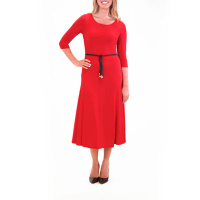 Nina Leonard 3/4 Sleeve Midi Dress With Belt
