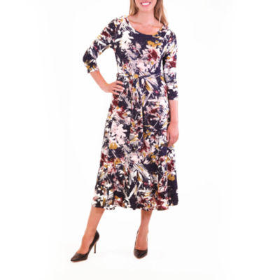 Nina Leonard Printed Midi Dress With Self Belt