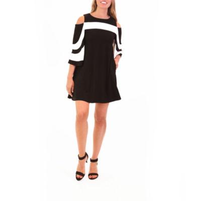 Nina Leonard Cold Shoulder Colorblock Dress