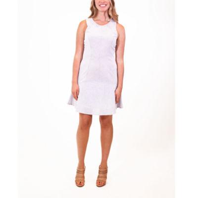 Nina Leonard Fit And Flare Seersucker Dress