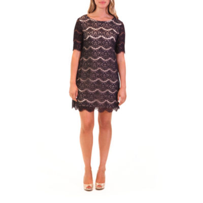 Nina Leonard Elbow Sleeve Dress With Scallop Edge