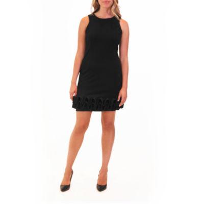 Nina Leonard Ruffle Hem Shift Dress