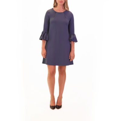 Nina Leonard Shift Dress With Puff Sleeve