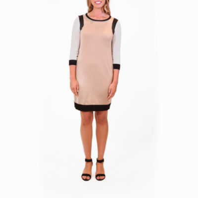 Nina Leonard Colorblock Sweater Dress