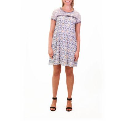 Nina Leonard Printed Dress With Contrast Border