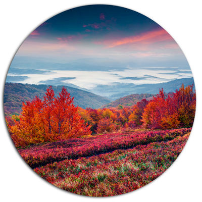 Design Art Autumn in the Carpathian Mountains Landscape Metal Circle Wall Art