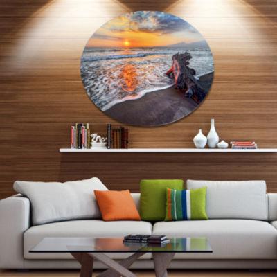 Design Art Fantastic Sandy Shore at Sunset Seashore Metal Circle Wall Art