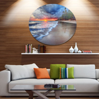 Design Art Fluffy Dark Clouds over Ocean SeashoreMetal Circle Wall Art