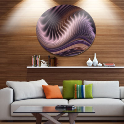 Design Art Purple Waves Fractal Wall Art AbstractMetal Circle Wall Art Print