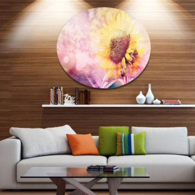 Design Art Sunflower With Rainbow Light Effect Floral Metal Circle Wall Art