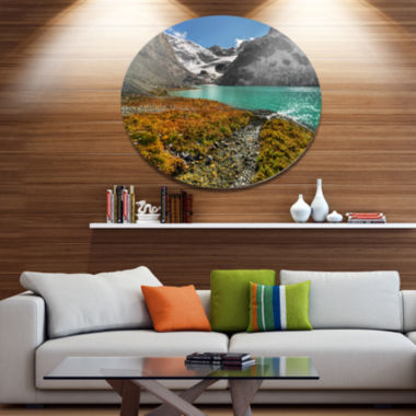 Design Art Crystal Clear Lake among Mountains Landscape Metal Circle Wall Art