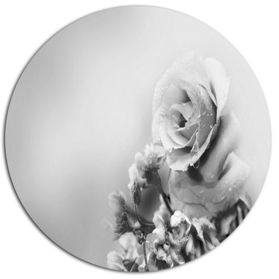 Design Art Black and White Rose in Spring. FloralMetal Circle Wall Art