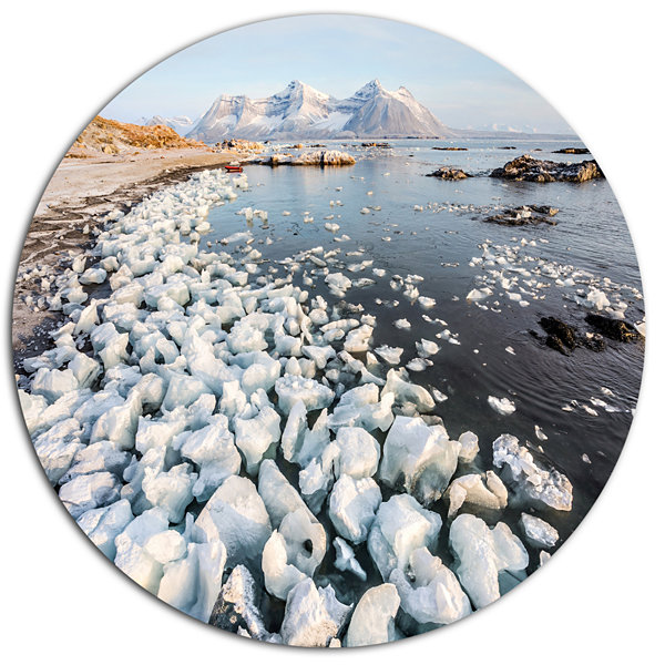 Design Art Sunny Morning in Arctic Spitsbergen Large Landscape Metal Circle Wall Art
