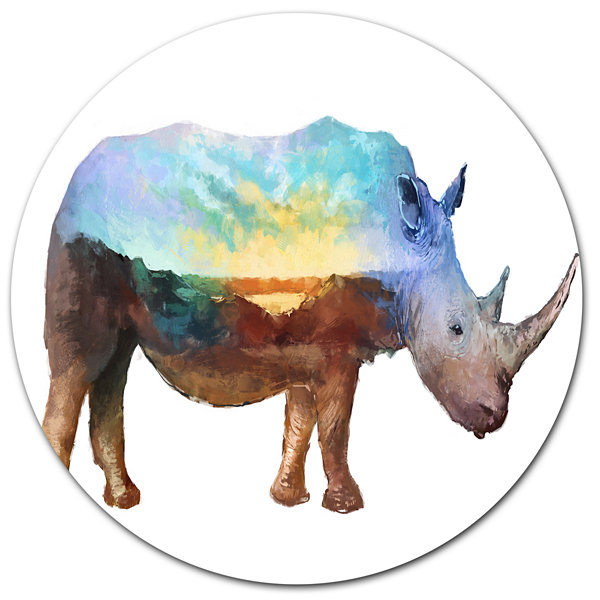 Design Art Rhino Double Exposure Illustration Large Animal Metal Circle Wall Art