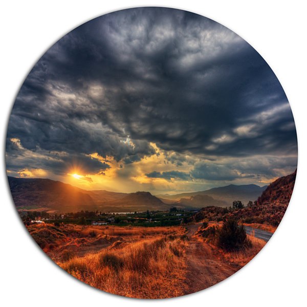 Design Art Beautiful Sunrise in Osoyoos Extra Large Landscape Metal Circle Wall Art