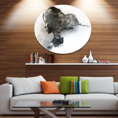 Design Art Stylish Woman and View of Manarola Portrait Metal Circle Wall Art