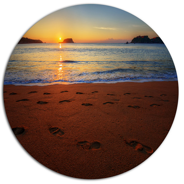 Design Art Foot Printed Sandy Ocean Beach SeashoreMetal Circle Wall Art