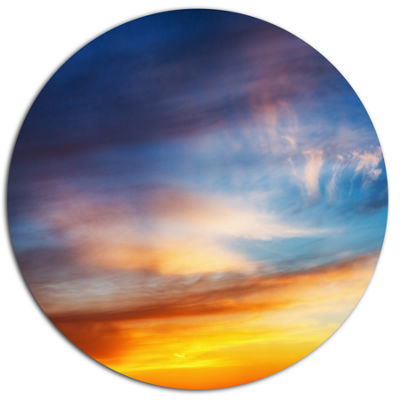 Design Art Sunset Dramatic Yellow Sky Clouds Seashore Metal Circle Wall Art