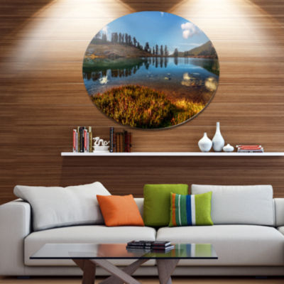 Design Art Calm Mountain Lake and Clear Sky Landscape Metal Circle Wall Art