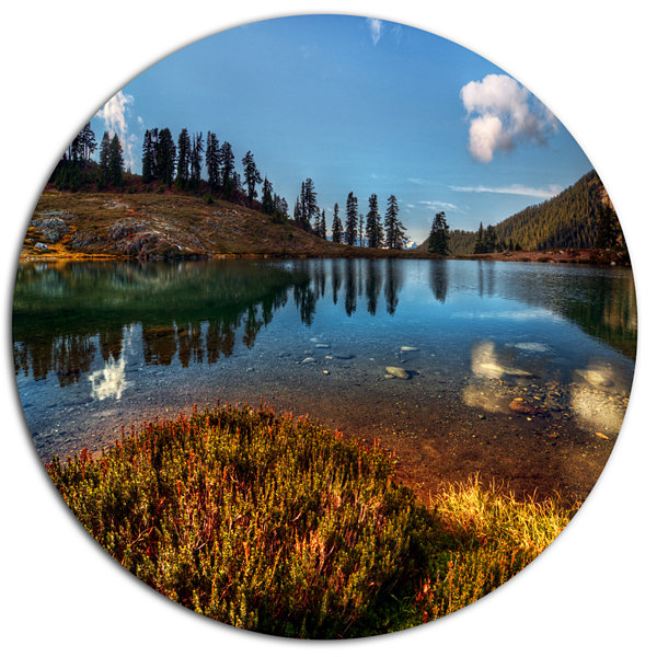 Design Art Calm Mountain Lake and Clear Sky Landscape Metal Circle Wall Art
