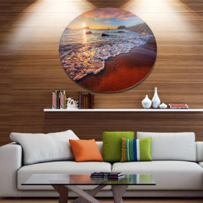 Design Art Stunning Ocean Beach at Sunset SeashoreMetal Circle Wall Art