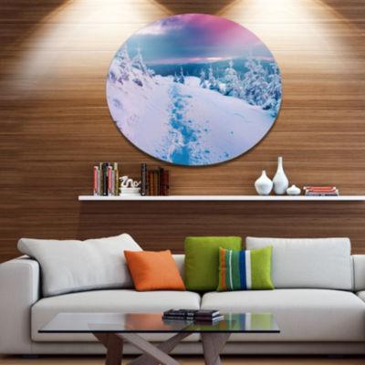 Design Art Beautiful Sunrise over Winter MountainsLarge Landscape Metal Circle Wall Art