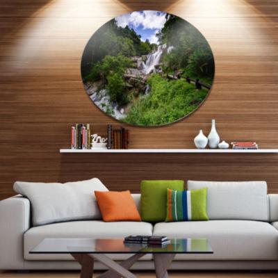 Design Art Mae Klang Waterfall Thailand Large Landscape Metal Circle Wall Art