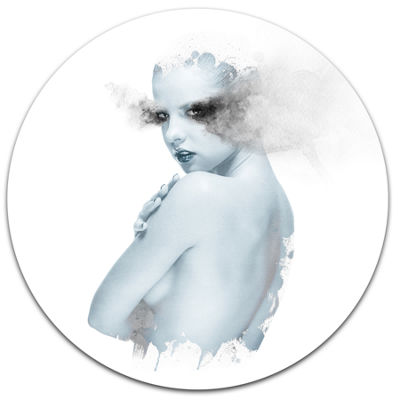 Design Art Beautiful Young Woman Double Exposure Portrait Metal Circle Wall Art