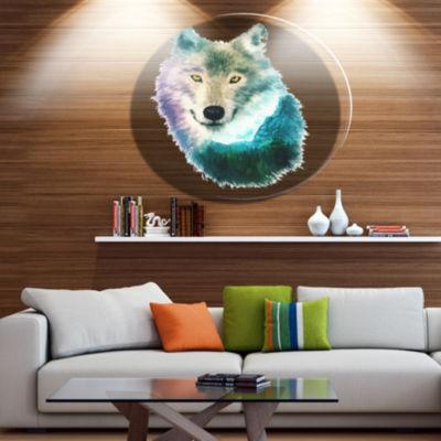 Design Art Wolf Head Double Exposure Drawing LargeAnimal Metal Circle Wall Art