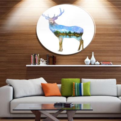 Design Art Deer Double Exposure Illustration LargeAnimal Metal Circle Wall Art