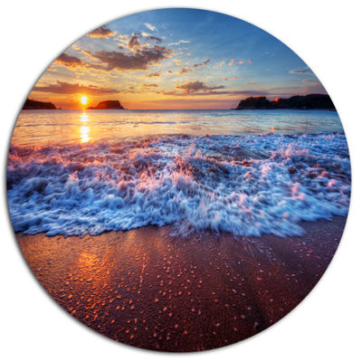 Design Art Blue Sea Waves during Sunset Seashore Metal Circle Wall Art